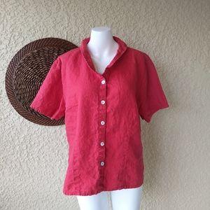 Flax button down shirt sleeve shirt red sz large